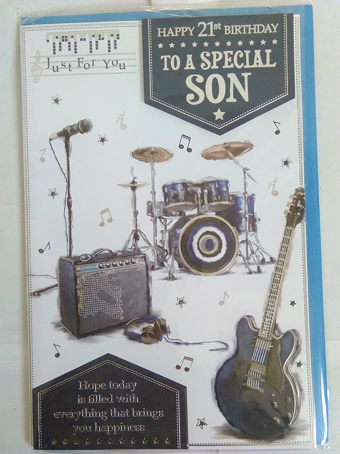 Just For You Happy 21st Birthday To A Special Son Card 21 Twenty One White Blue Silver Guitar Drums 3D Foil Detail Amazoncouk Office Products