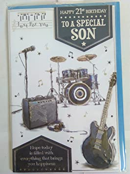 Solo Para Ti feliz cumpleaños a un especial hijo Tarjeta de cumpleaños 21 de 21 blanco/azul/plata guitarra Tambores 3d lámina de/detalle: Amazon.es: Oficina ...