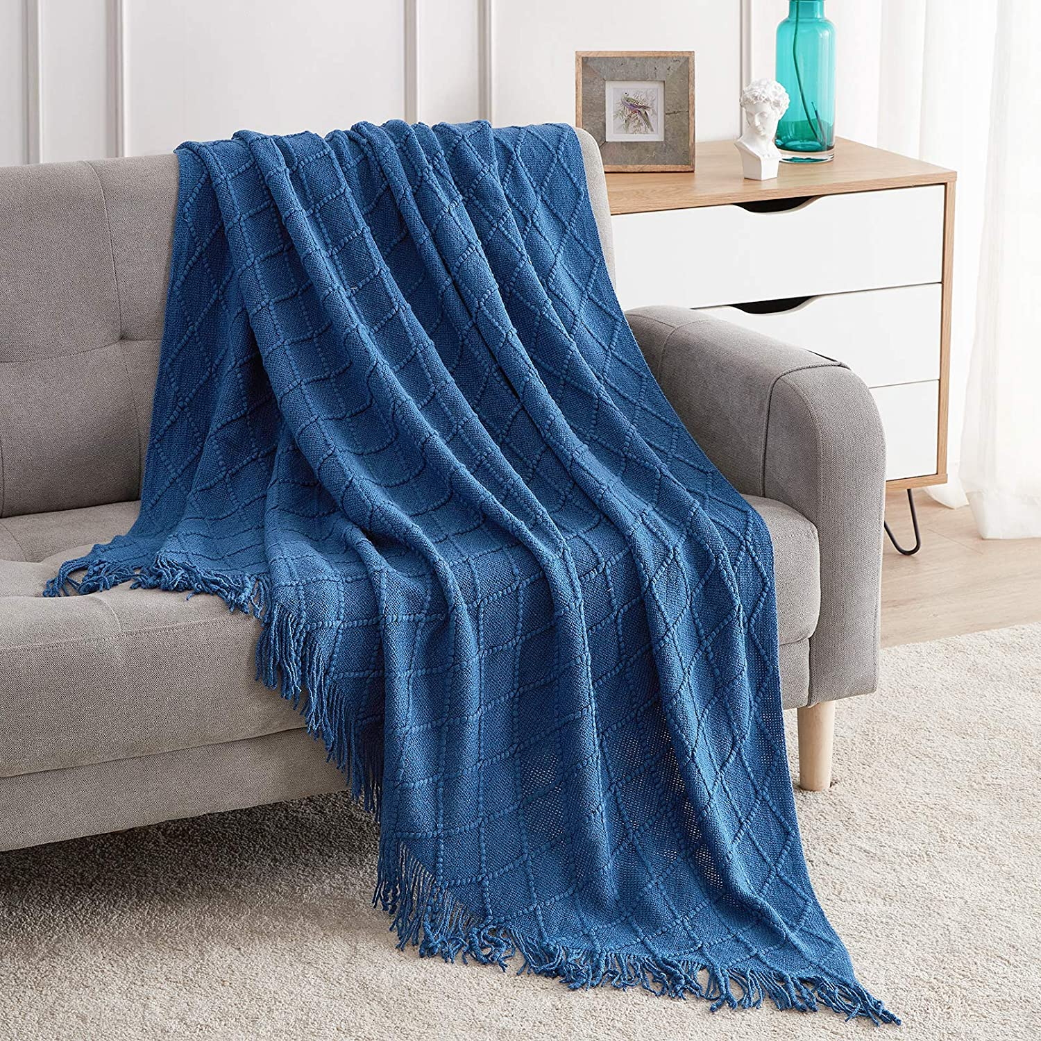 "Bourina Textured Solid Soft Sofa Throw Couch Cover Knitted Decorative Blanket,Royal Blue 50""x60"""