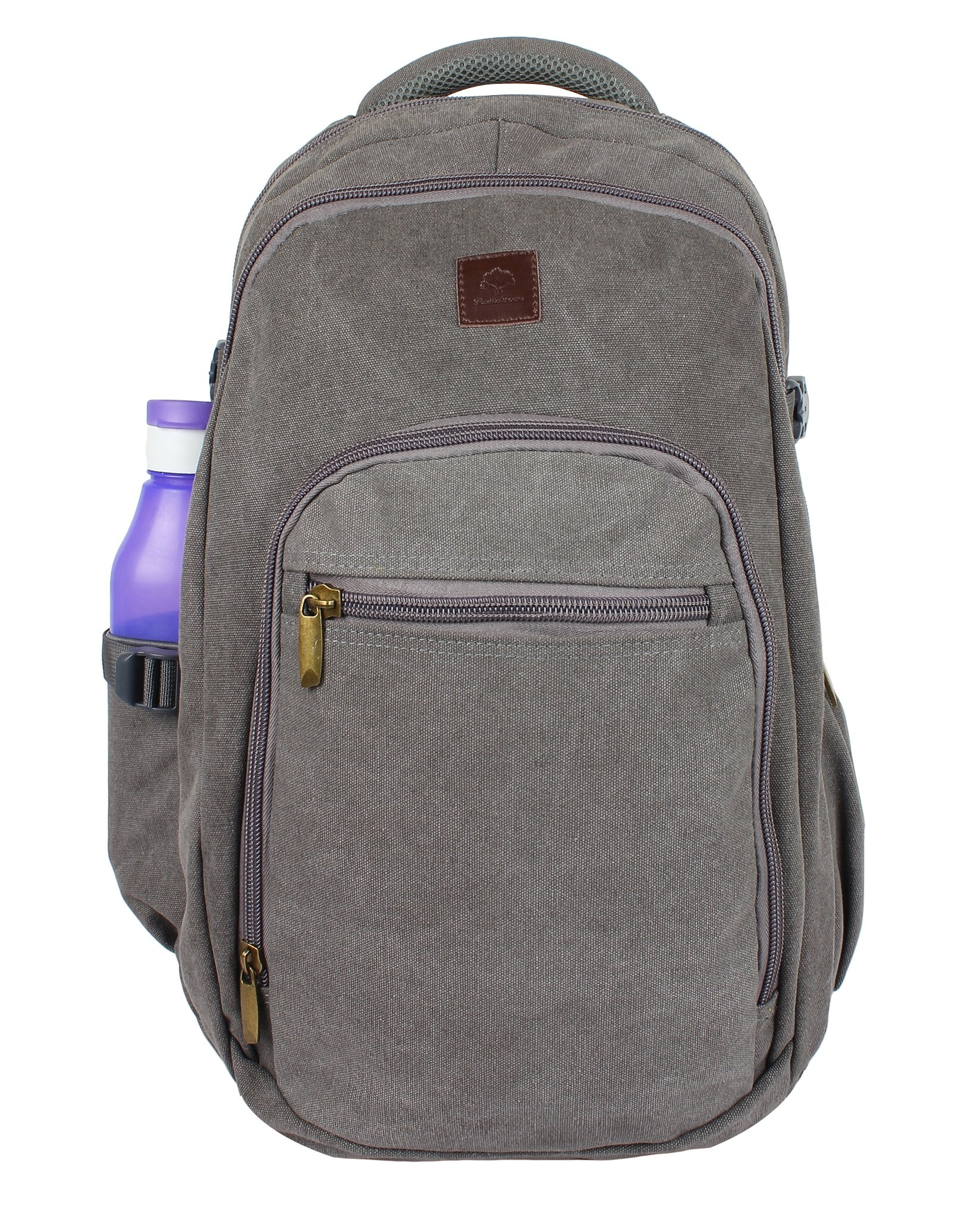 Rustic Town Canvas backpack book laptop bags rucksack for student kids men women (Gray)