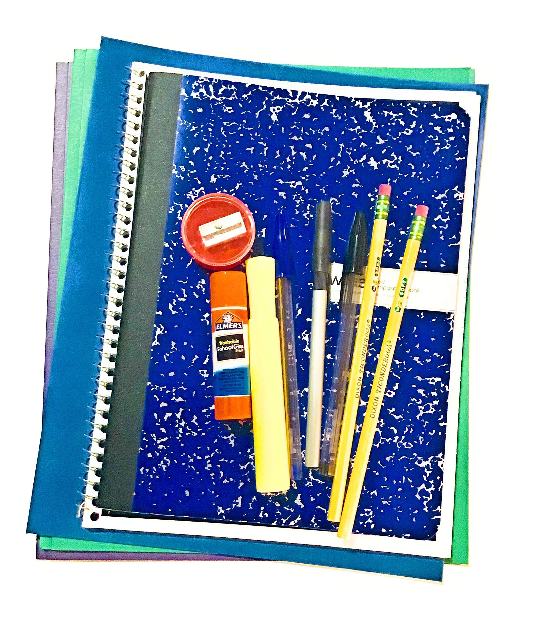 13 Piece School Supply,Notebook,Composition,folders Bundles Grades 6-12