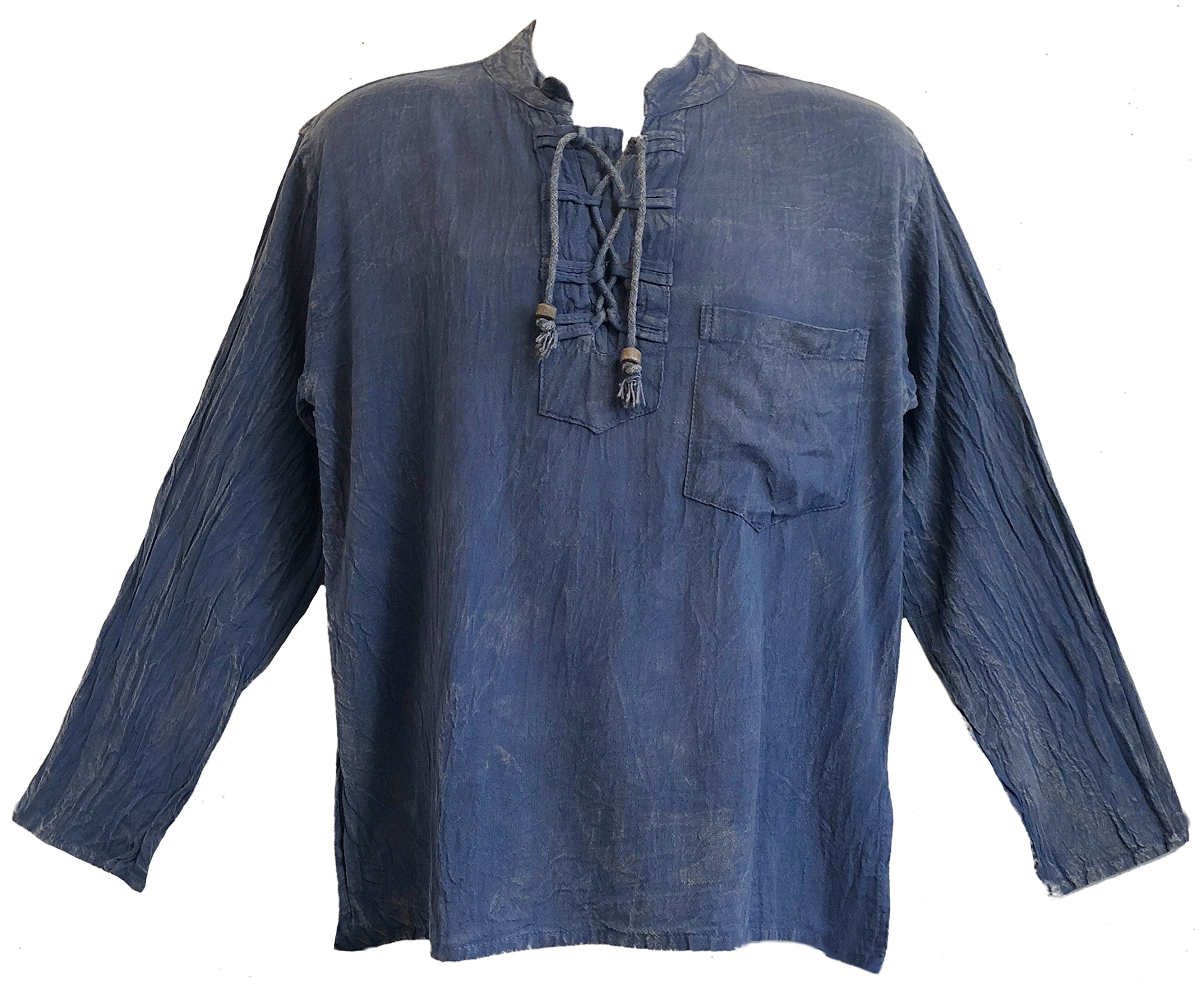 Yak & Yeti Men's Kurta Stone Washed Lightweight Cotton Embroidered Mandarin Style Collar (Medium, Blue Lace up)