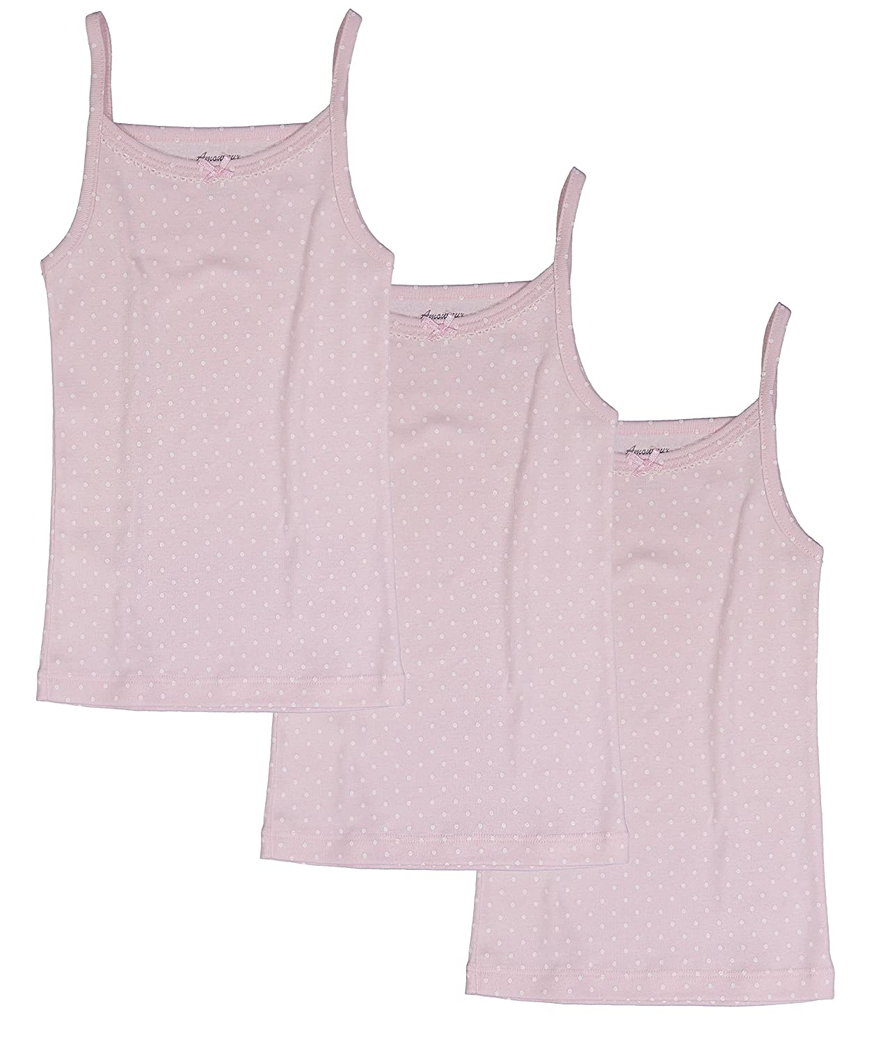 Amoureux Bebe Toddler and Girls Camisole Undershirts- Tagless 100% Cotton Tank Tops Cami Pink/White Dots. 3 PK