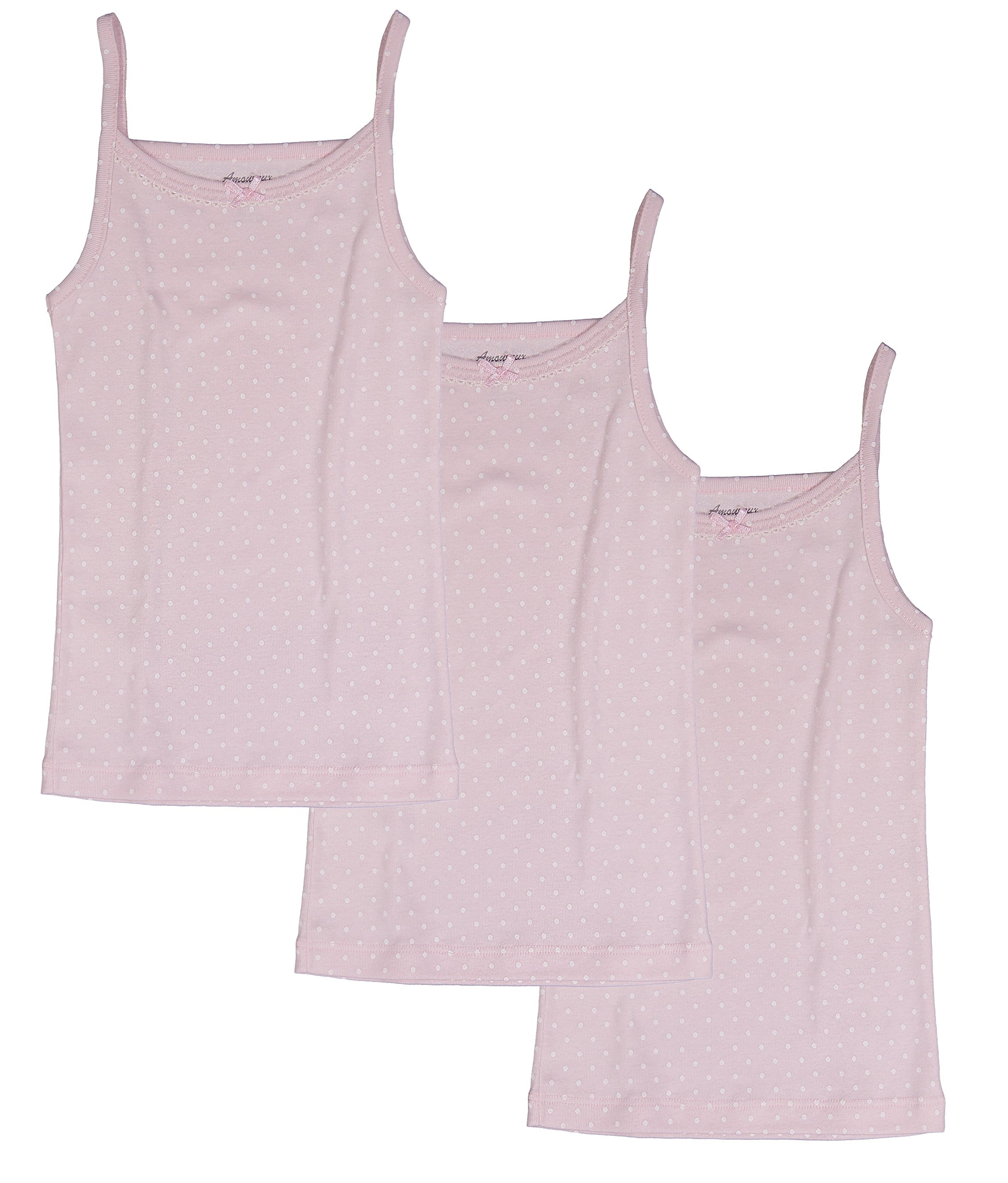 Amoureux Bebe Toddler and Girls Camisole Undershirts- Tagless 100% Cotton Tank Tops Cami Pink/White Dots. 3 Pk 2-3