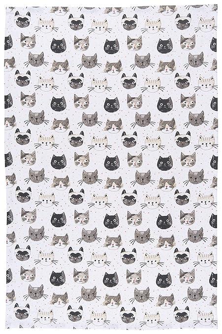 Amazon.com: Now Designs Cotton Kitchen Towel, Cats Meow Print: Home ...