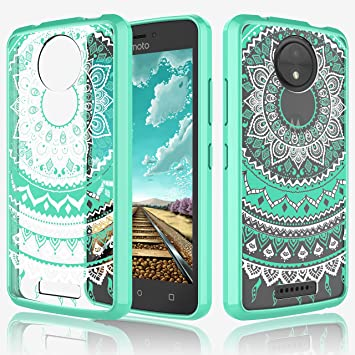 best service 9ee44 d5d7c Motorola Moto C Case,Moto C Phone Cover,Eutekcoo [Tflower Series] [Shock  Absorption] Mandala Floral Design Case [Clear Back Cover, Slim Fit, TPU ...