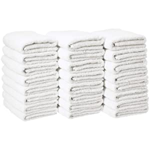 AmazonBasics Cotton Hand Towel - 24-Pack, White