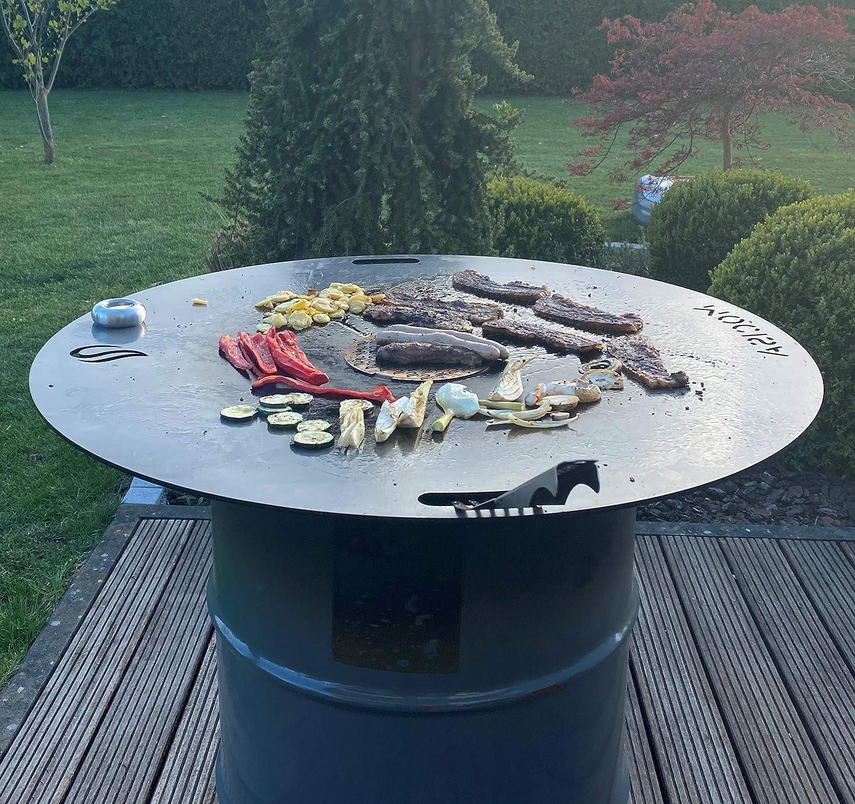 mocisa Universal BBQ Grillplatte Feuerplatte Fassgrill Kugelgrill 80 cm Stahl blank St/ärke 5mm Made in Bavaria