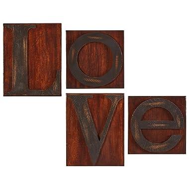Stone & Beam Modern Love Woodblock Wall Art, 20 H, Walnut
