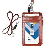 """Badge Holder with Zip, Wisdompro 2-Sided PU Leather ID Badge Holder with 1 ID Window, 4 Card Slots, 1 Side Zipper Pocket and 1 Piece 20"""" PU Neck Lanyard/Strap - Brown (Vertical)"""