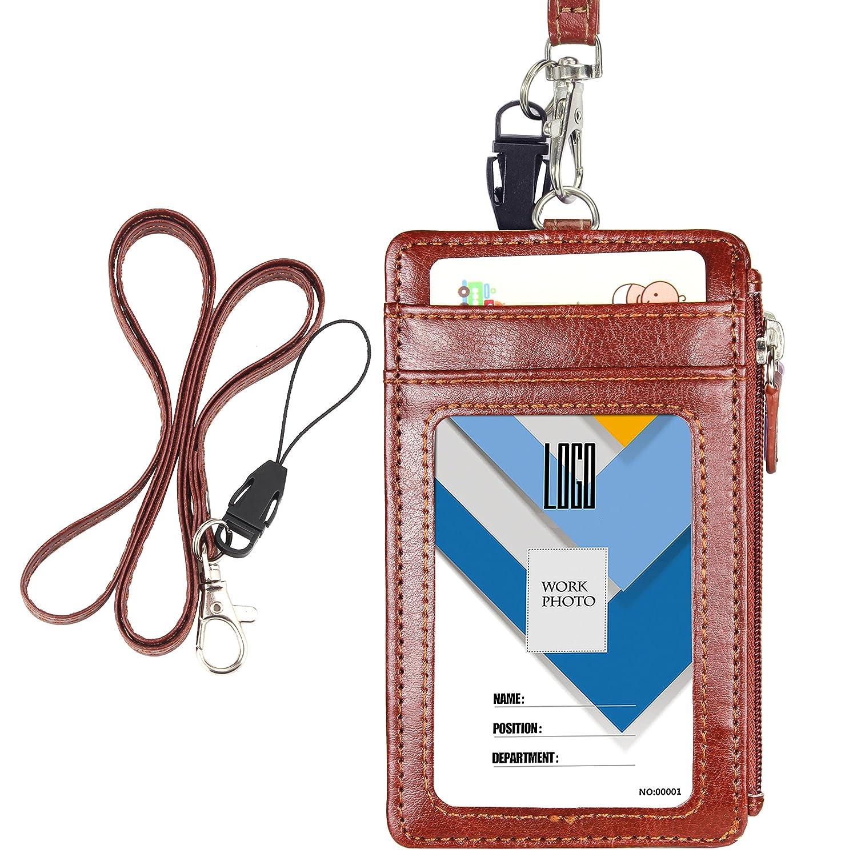 Wisdompro® , porta badge con cerniera, orientamento verticale, utilizzabile sui due lati, in pelle PU, con 1 scomparto trasparente, 4 scomparti per tessere, 1 tasca laterale con cerniera e 1 cordoncino da appendere al collo in PU da 51 cm Brown