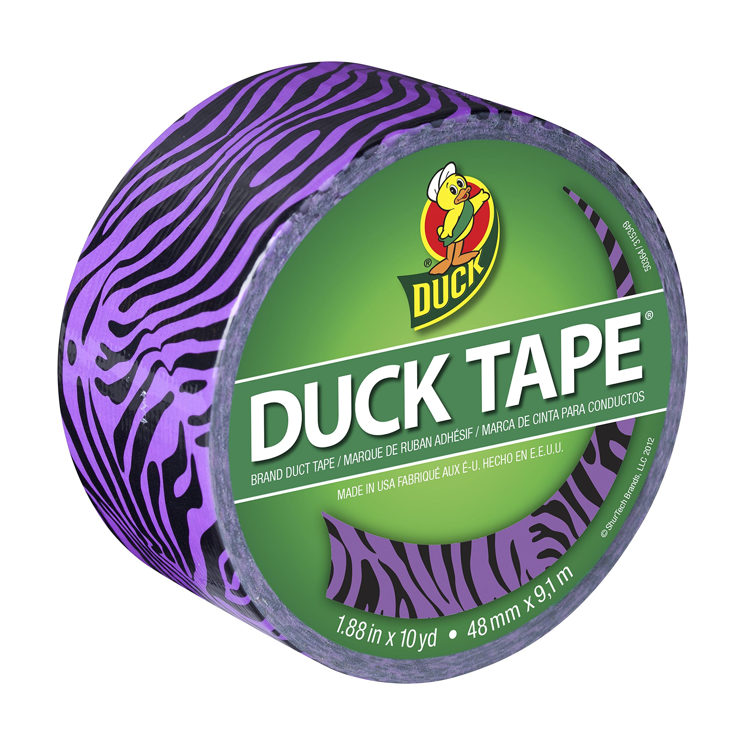 Duck Brand 281517 Printed Duct Tape, Purple Zebra, 1.88 Inches x 10 Yards, Single Roll