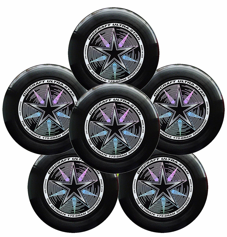 Discraft Ultra-Star 175g Ultimate Frisbee Sport Disc (6 Pack) Black by Discraft