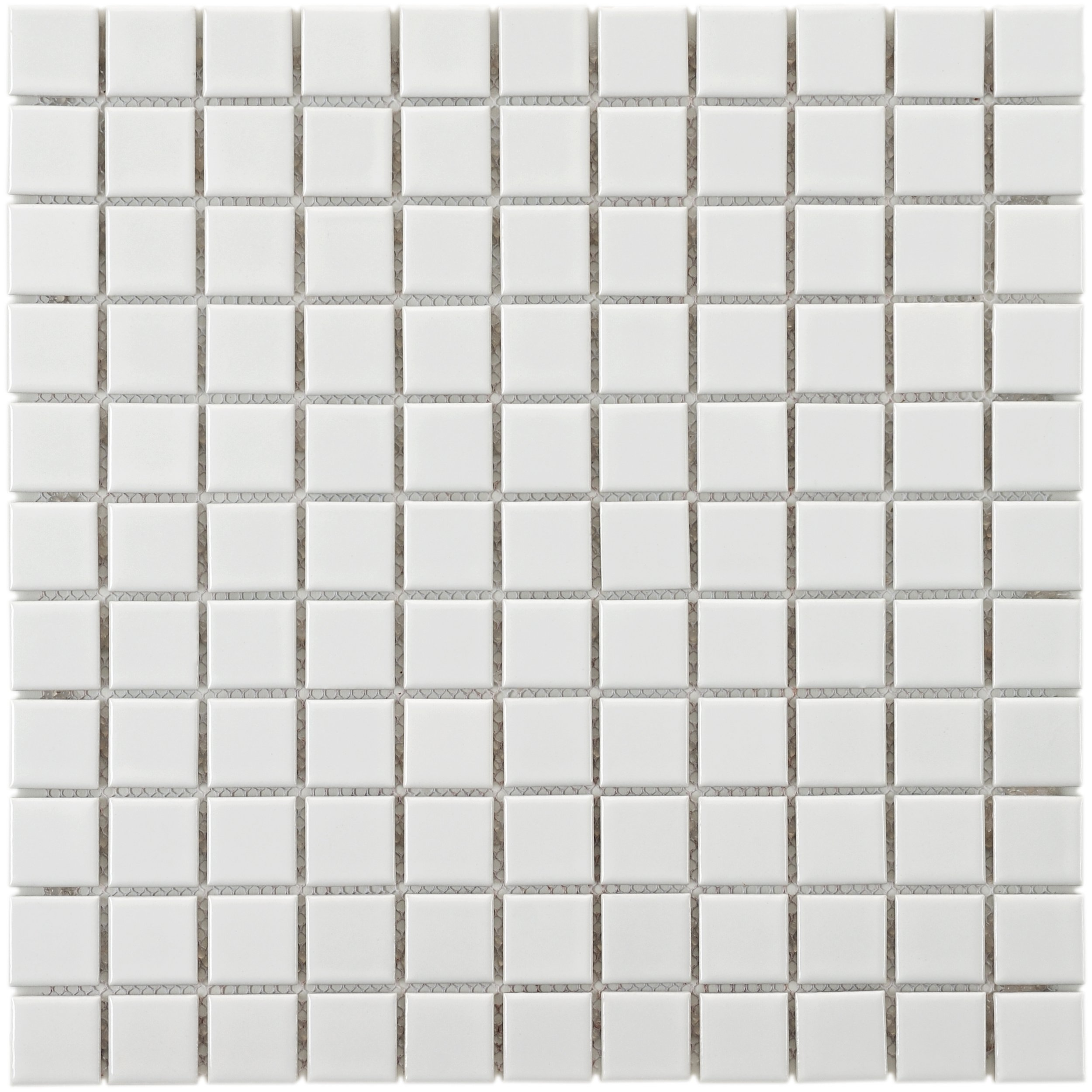SomerTile FXLMSW Retro Square Porcelain Floor and Wall Tile, 11.75'' x 11.75'', White
