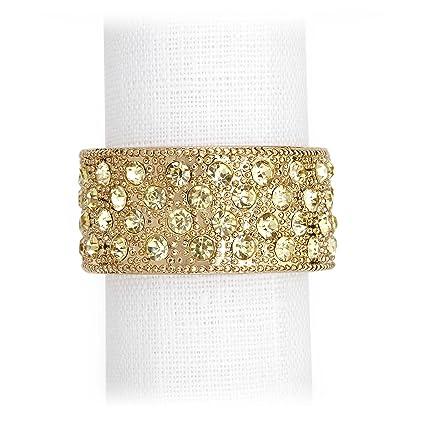L objet allanar banda oro anillos para servilletas juego de cuatro anillos para servilletas –