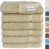 SALBAKOS Luxury Hotel & Spa Turkish Cotton 6-Piece Eco-Friendly Hand Towel Set 16 x 30 Inch, Taupe