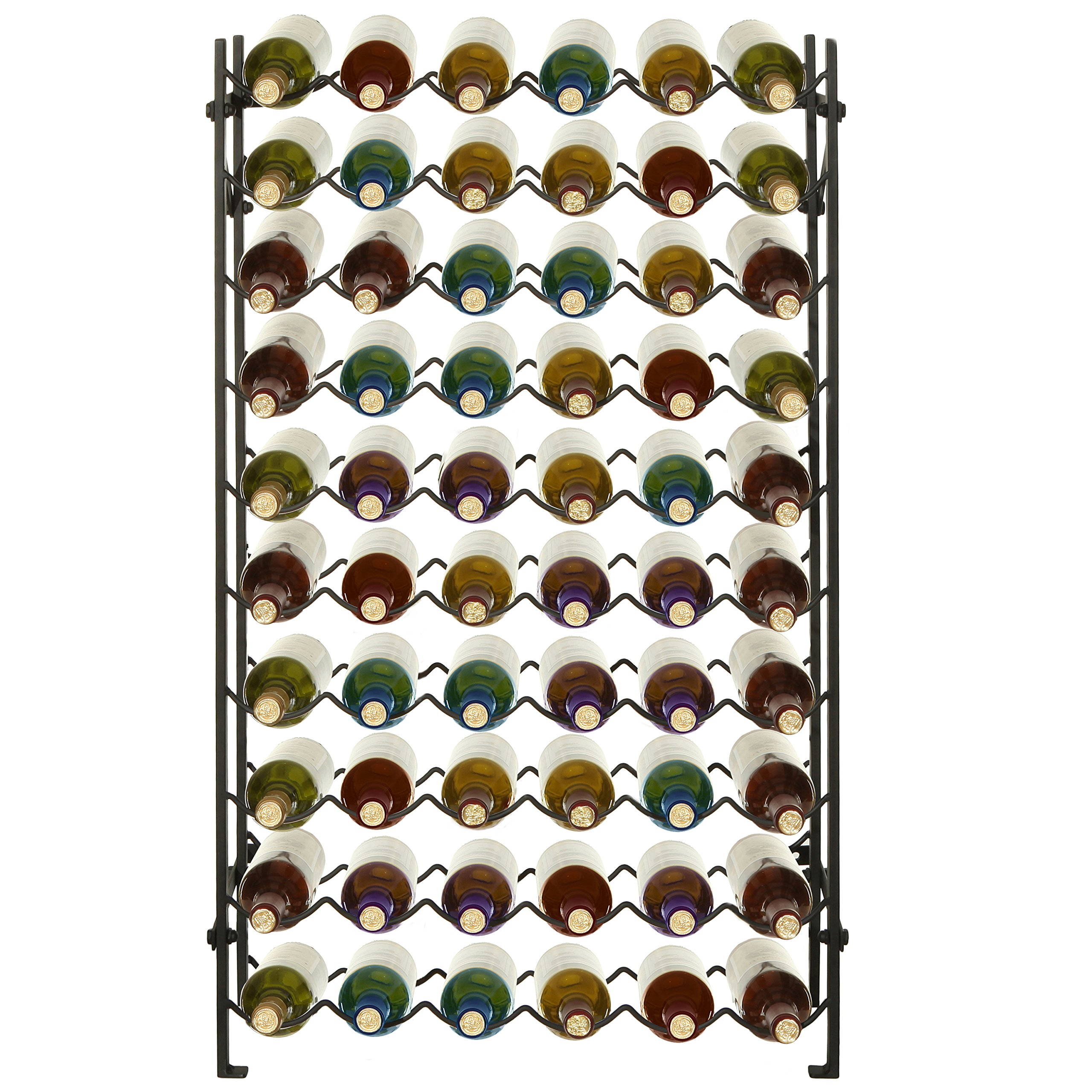 Modern Black Metal 60 Bottle Wine Cellar Organizer Rack/Wall Mounted Wine Collection Display Stand by MyGift (Image #2)