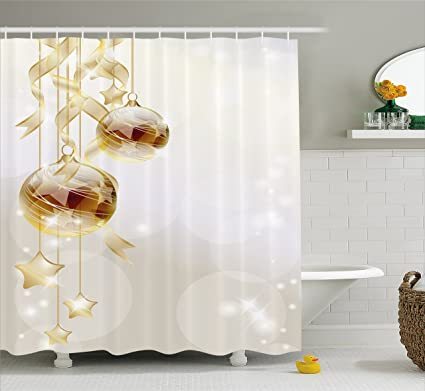Ambesonne Christmas Shower Curtain Gold Color Xmas Balls With Swirled Ribbons And Stars Abstract Background
