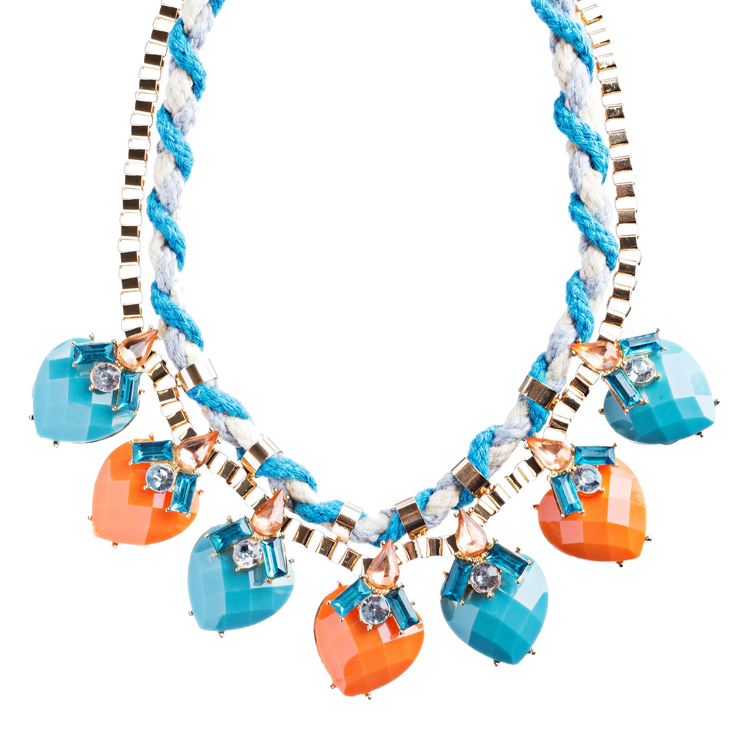 Modern Fashion Crystal Rhinestone Vibrant Heart Shape Necklace Set N75 Blue