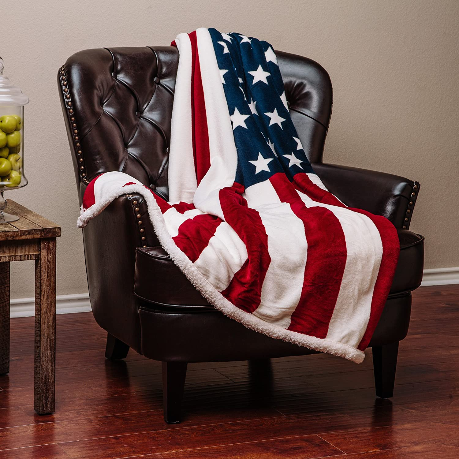 Chanasya Patriotic US Flag Print Fleece Sherpa Throw Blanket - Super Soft Ultra Plush Lightweight Microfiber Cozy Warm for Couch Bed Chair Office Sofa - Great Gift for Men Women House - 50 x 60 Inches