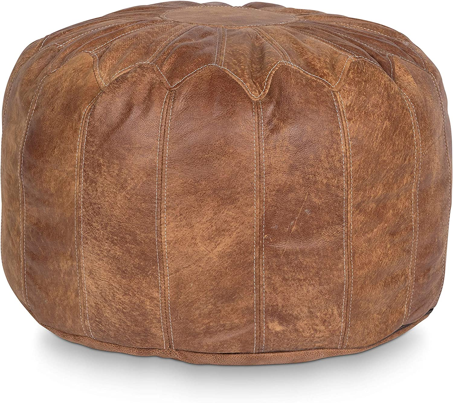 Stone & Leigh Moroccan Genuine Leather Pouf Ottoman Footstool Large Round Stuffed Living Room Decor Bohemian