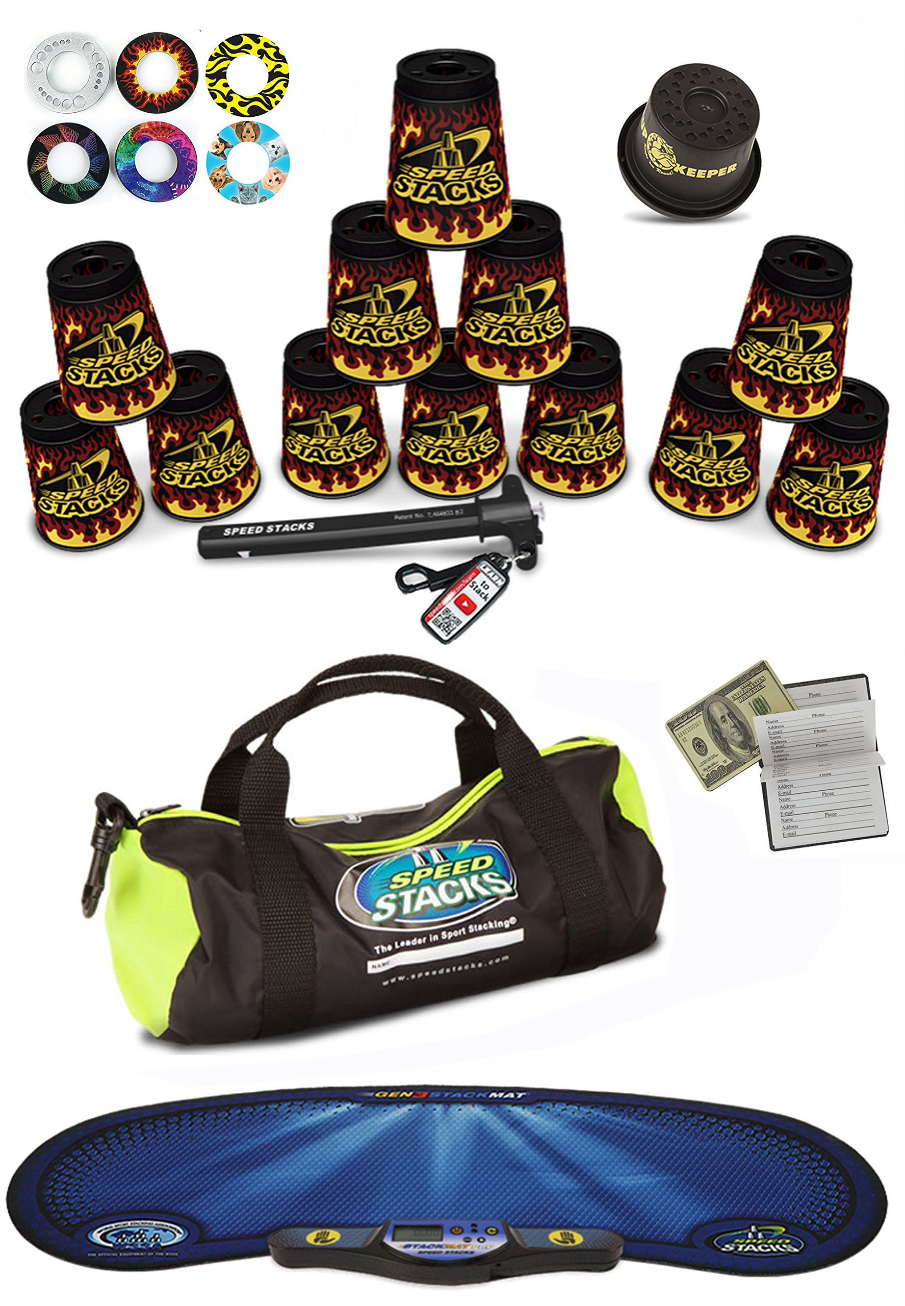 Speed Stacks Custom Combo Set - The Works: 12 BLACK FLAME 4'' Cups, Cup Keeper, Quick Release Stem, Pro Timer, Gen 3 Mat, 6 Snap Tops, Gear Bag & $100 Design Magnetic Credit Card Size Address Book