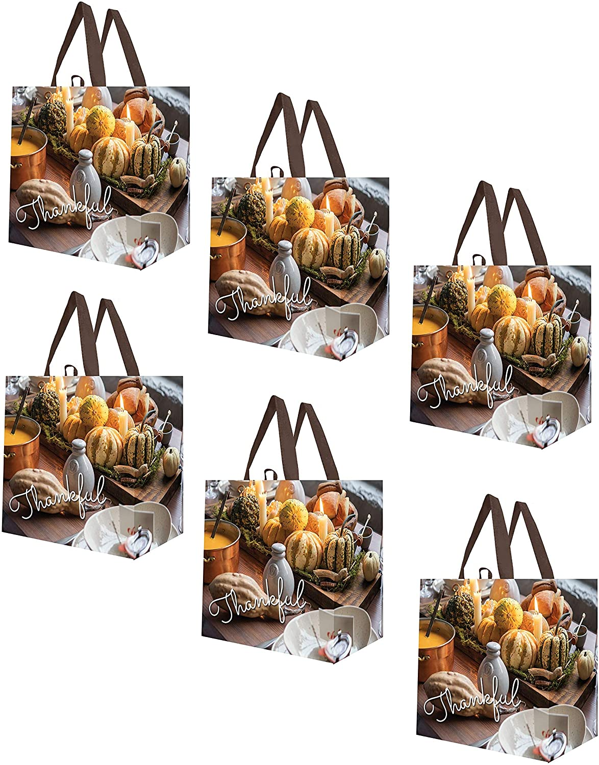 Earthwise Reusable Grocery Shopping Bags Extremely Durable Multi Use Large Stylish Fun Foldable Water-Resistant Totes Design - Fall Thankful (Pack of 6)