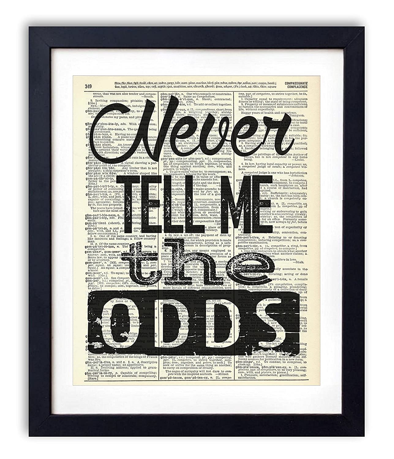 Amazon Never Tell Me The Odds Typography Quote Upcycled Vintage Dictionary Art Print 8x10 Handmade