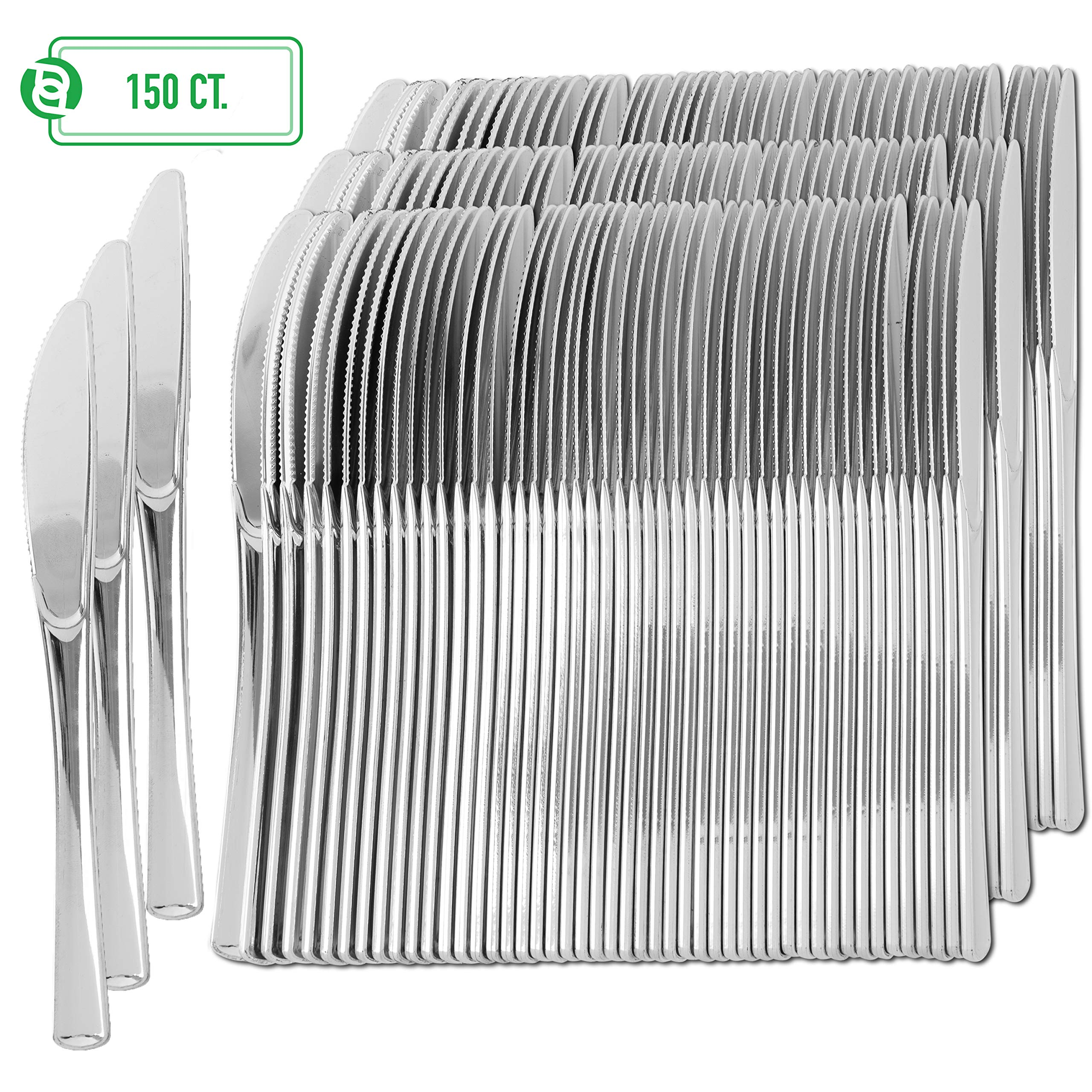 Plastic Silverware | Heavy Duty & Solid Cutlery Disposable Utensils Set | Perfect for Weddings, Buffets, Luncheon, Birthdays, More | Pack of 150 Knives by Party Bargains