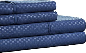 Brushed Microfiber Sheets Set- 4 Piece Hypoallergenic Bed Linens with Deep Pocket Fitted Sheet and Embossed Design by Lavish Home (Navy, Queen)