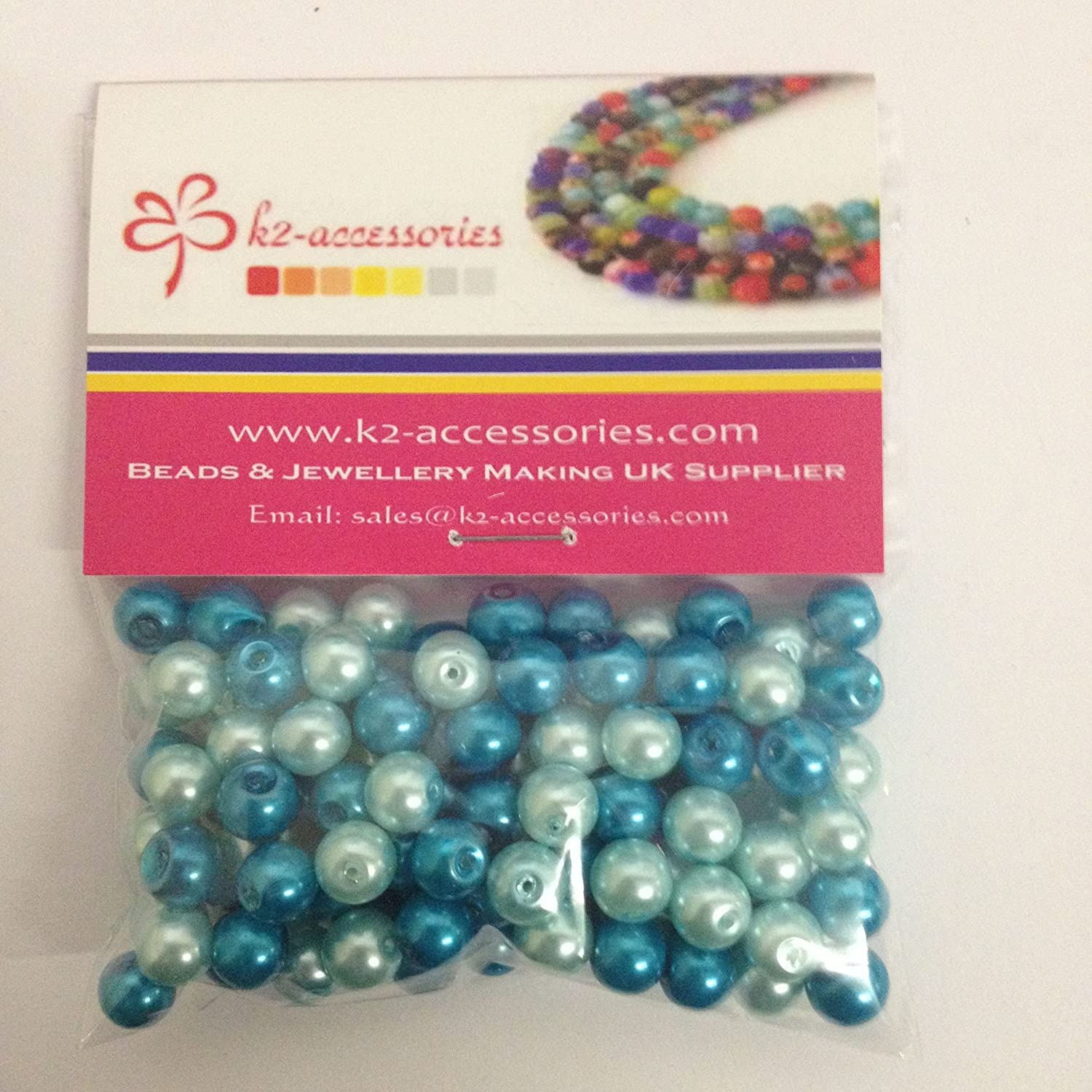 100 pieces 8mm Glass Pearl Beads - Blue Mix - A1030 k2-accessories