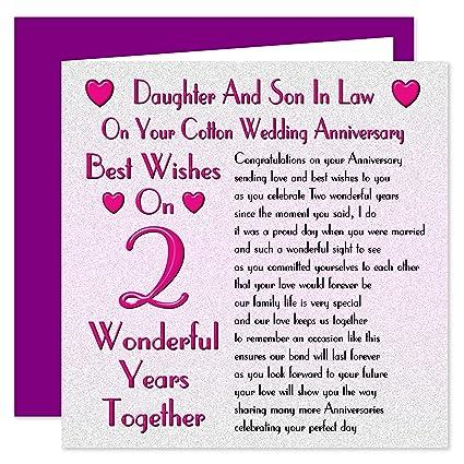 Anniversario Matrimonio Figlio.Figlia E Figlio In Legge 2 Anniversario Di Matrimonio Di Cotone