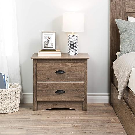 Prepac Salt Spring 2 Drawer Night Stand Drifted Gray Furniture Decor