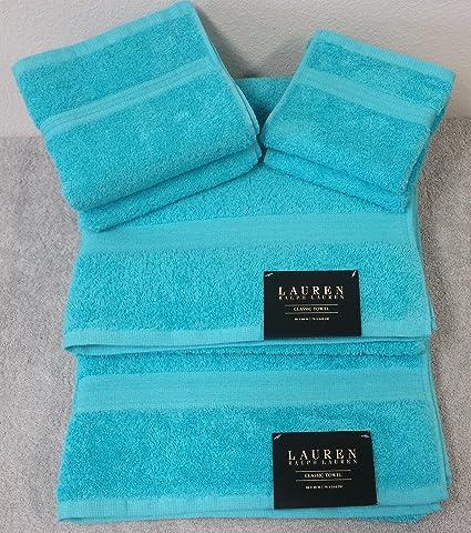 Ralph Lauren Classic 6 piezas Juego de toallas de baño – 100% algodón – Aqua