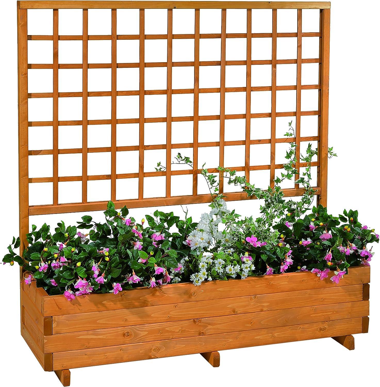 GASPO Jardinera con Enrejado Hellbrunn | Color Miel, de Madera Maciza | L 136 cm x W 37 cm x H 140 cm, Maceta para balcón y jardín