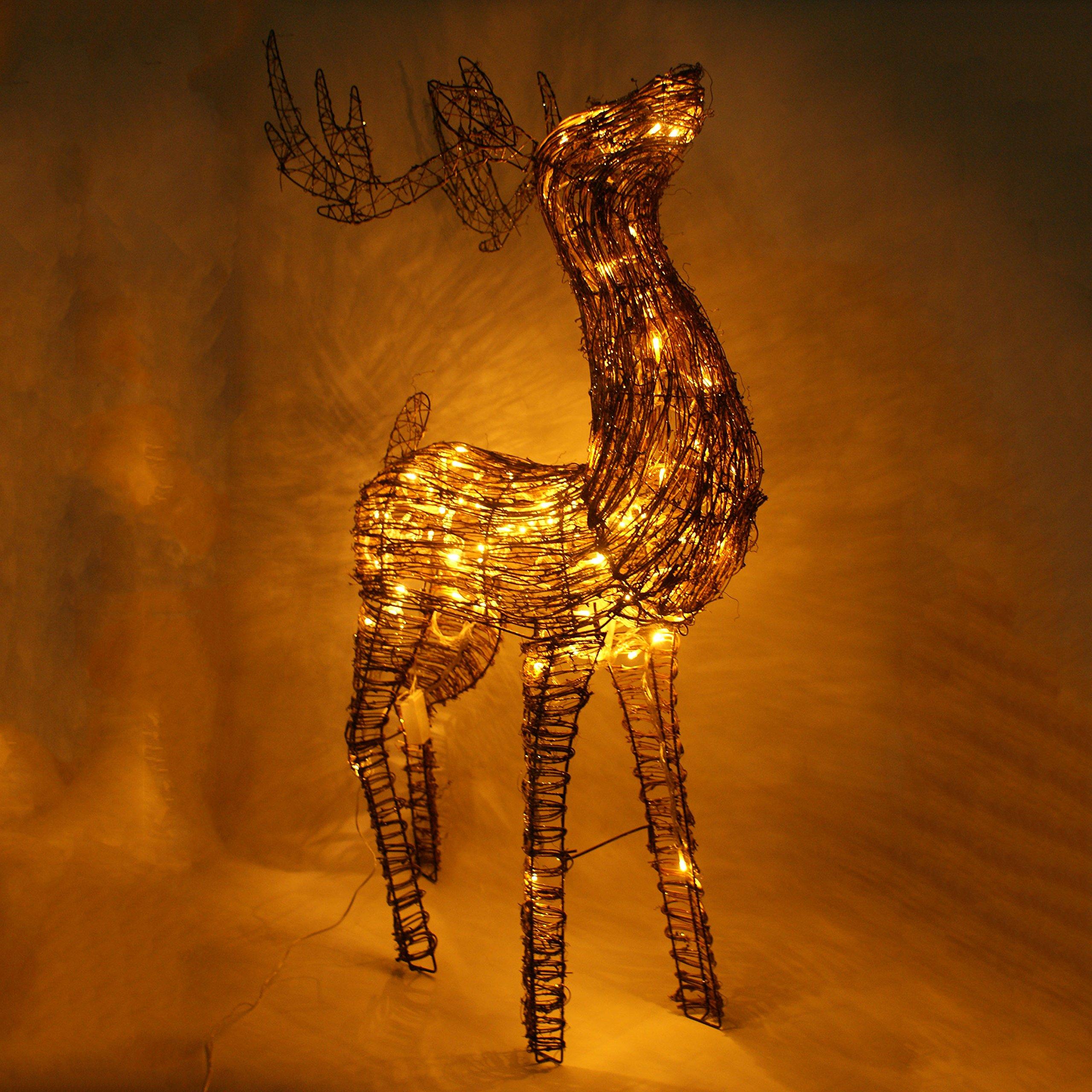 45'' Led lighted Glittering Standing Buck Reindeer Lighted Christmas Yard Art Decoration - Clear Lights