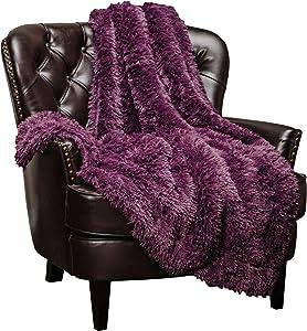 "Chanasya Super Soft Shaggy Longfur Throw Blanket | Snuggly Fuzzy Faux Fur Lightweight Warm Elegant Cozy Plush Sherpa Microfiber Blanket | for Couch Bed Chair Photo Props -50""x 65""- Purple Aubergine"