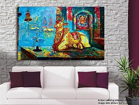 Tamatina tela pittura holy nandi lord shiva indù dipinti
