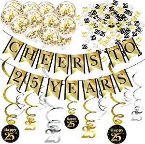 25th Birthday Party Decorations and Anniversary Pack - Cheers to 25 Years Banner, Balloons, Swirls and Confetti Party Supplies