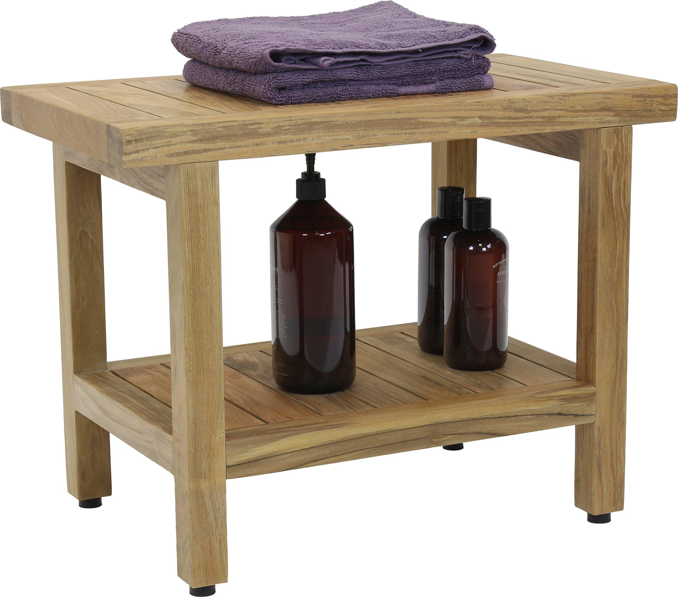 24'' Spa Natural Teak Shower Bench with Shelf by AquaTeak (Image #6)