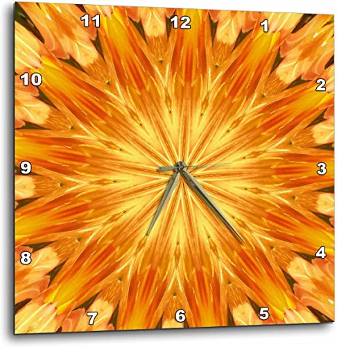 3dRose Yellow and Orange Kaleidoscope Pattern – Wall Clock, 15 by 15-Inch DPP_165200_3
