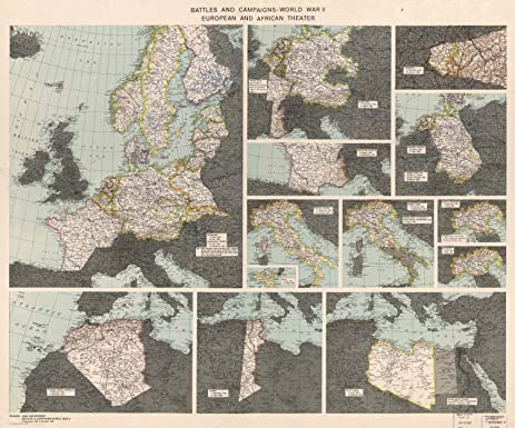 Amazon map poster battles and campaigns world war ii map poster battles and campaigns world war ii european and african theate sciox Image collections