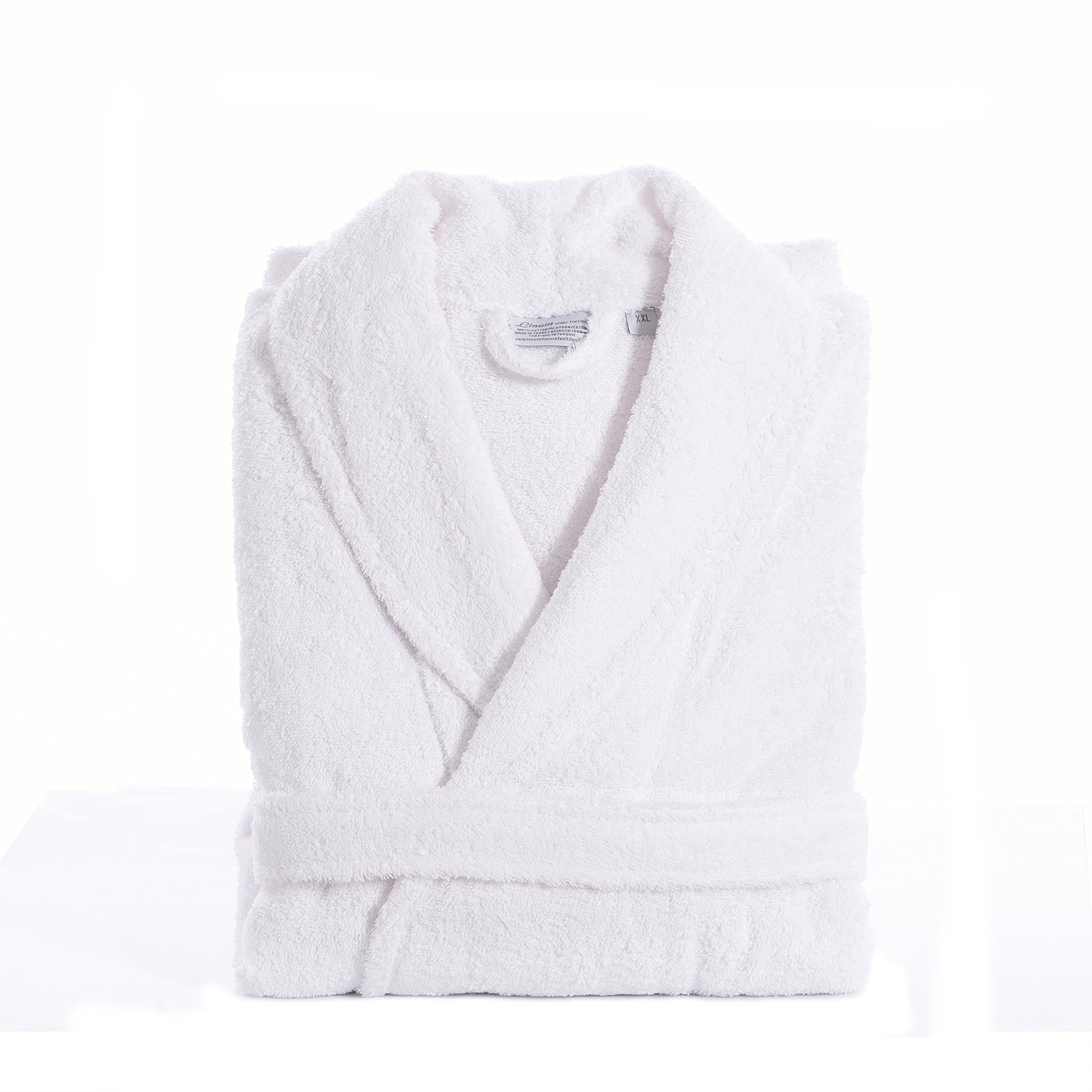 Linum Home Textiles 100% Turkish Cotton Unisex Terry Cloth Bathrobe, White, Large/XL