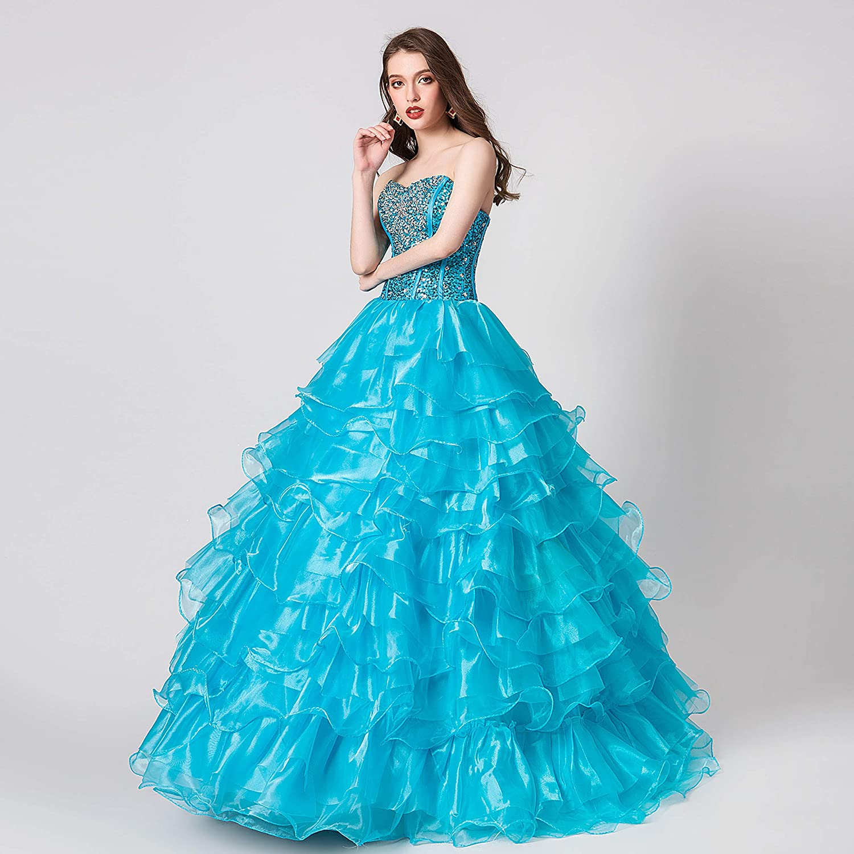 bd10ba55e95 Ikerenwedding Women s Crystal Beaded Ball Gown Organza Ruffles Quinceanera  Dress at Amazon Women s Clothing store