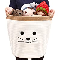 DECOMOMO Cat Cotton Rope Storage Basket   Woven Décor Blanket Hamper with Handles   Great for Living Room/Nursery…