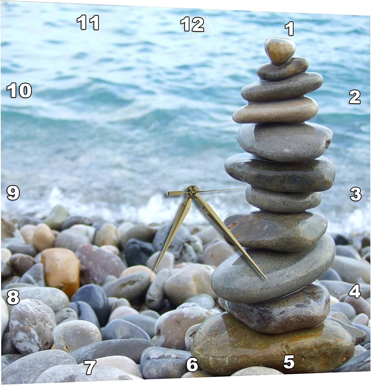 Amazon Com 3drose Zen Stone Tower On Pebble Beach Peaceful