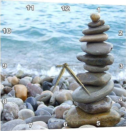 3dRose Zen Stone Tower on Pebble Beach – Peaceful Harmony – Stacked Shiny Round Ocean Sea Rocks – Balance – Wall Clock, 13 by 13 DPP_157790_2