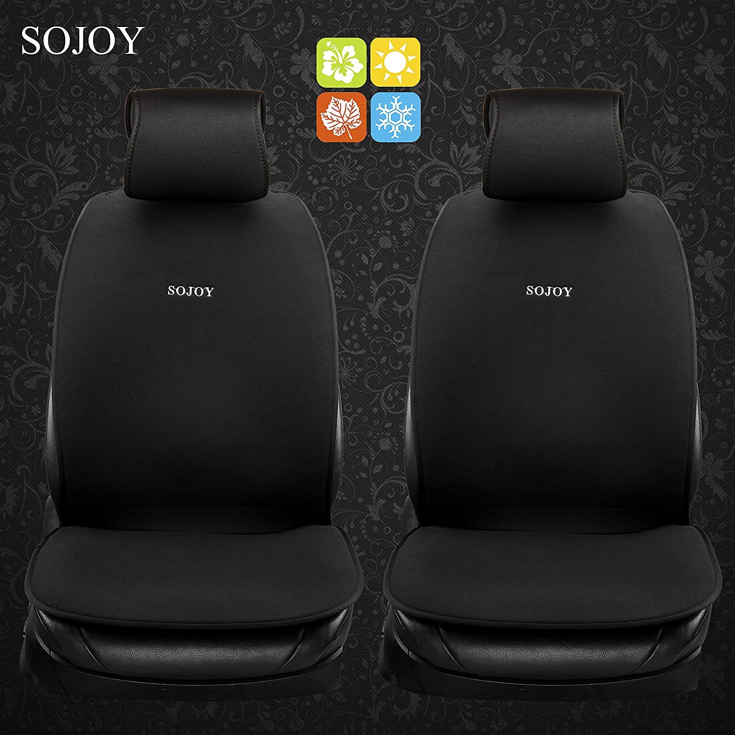 Black Sojoy Universal Four Season Fashionable Car Seat Cushion Cover for Front of 2 Seats