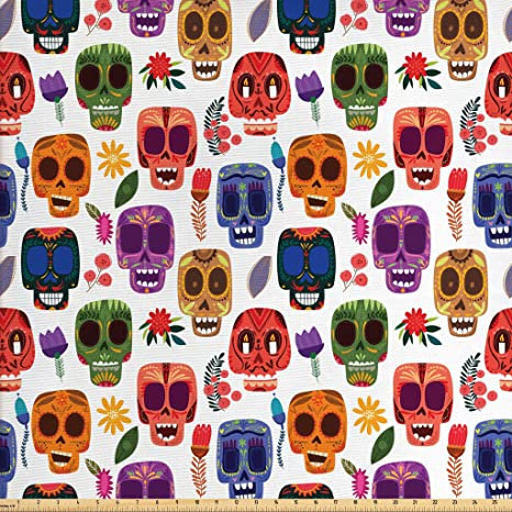 LATEST Designer Day Of The Dead Skulls Cotton Fabric Curtain Upholstery