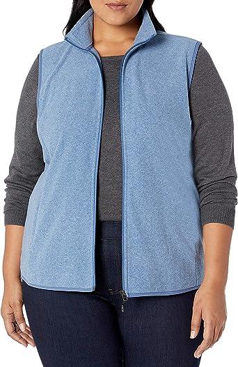 Essentials Plus Size Full-Zip Polar Fleece Vest Femme